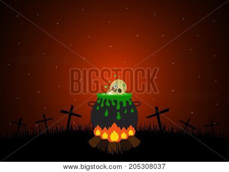 Halloween festival and celebration abstract background bonfire with witch cauldron with green potion graveyard skull cross and copy space vector illustration.