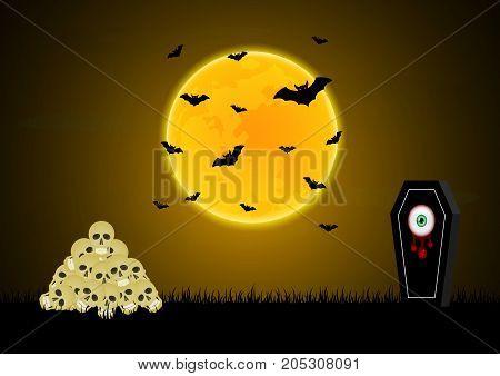 Halloween Gravestone Blood Eyeball Graveyard Skull Moon Bat