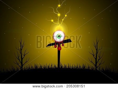 Halloween Blood Eyeball Cross Graveyard Tree Thunderbolt