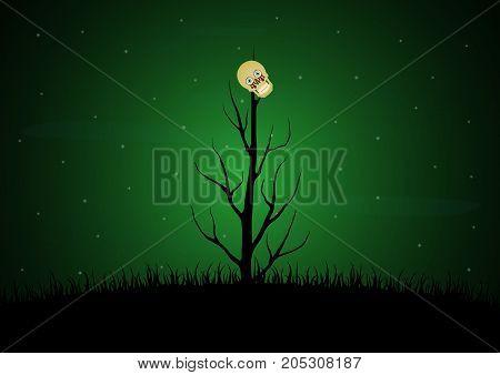 Halloween Blood Eyeball Skull Dead Dry Tree Background