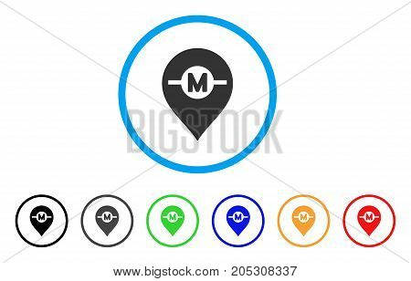 Motor Marker rounded icon. Style is a flat motor marker gray symbol inside light blue circle with black, gray, green, blue, red, orange variants. Vector designed for web and software interfaces.