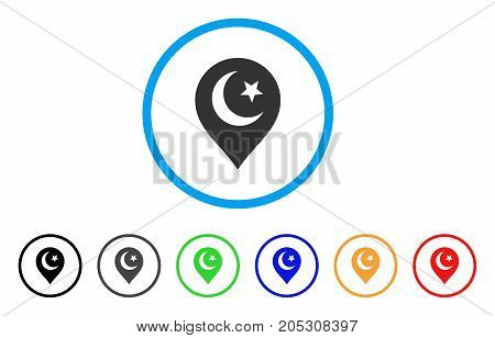 Muslim Symbol Marker rounded icon. Style is a flat muslim symbol marker grey symbol inside light blue circle with black, gray, green, blue, red, orange versions.