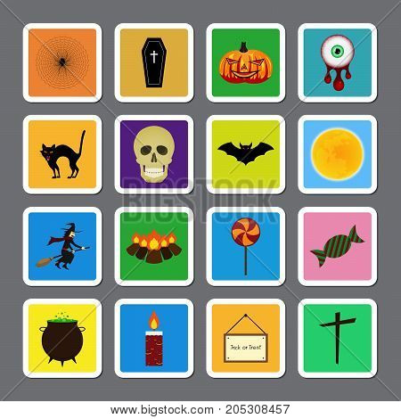 Halloween festival and celebration abstract color square sticker icon set spider web coffin pumpkin blood eyeball cat skull bat moon witch broom bonfire lollipop toffee cauldron candle light board and cross vector illustration.