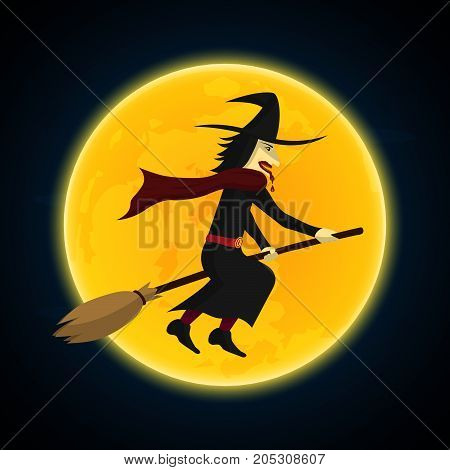 Halloween Witch Flying On Broom And Moon