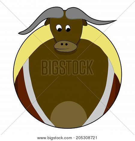 Sticker bull icon. Vector bull head and illustration of angry bull