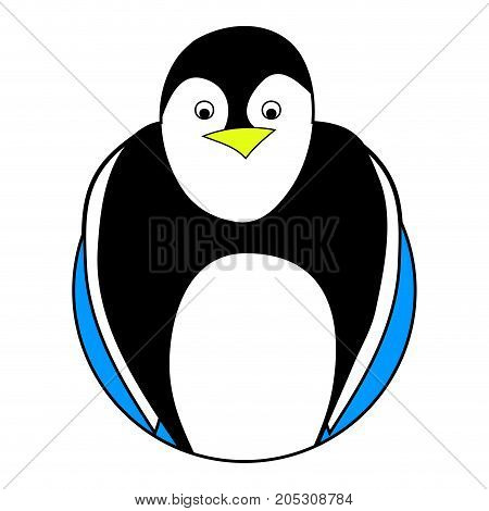 Penguin sticker icon flat. Penguin isolated and vector baby penguin illistration of emperor penguin christmas