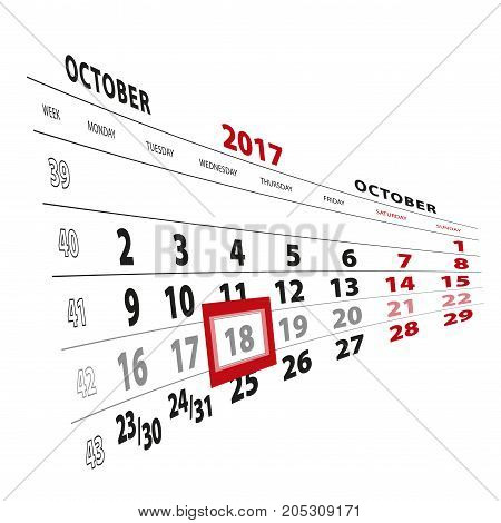 18 October Highlighted On Calendar 2017. Week Starts From Monday.