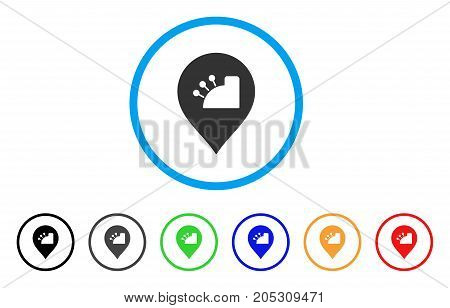 Shop Register Marker rounded icon. Style is a flat shop register marker grey symbol inside light blue circle with black, gray, green, blue, red, orange color versions.