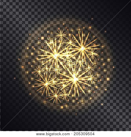 Light effects of burning sparklers in radiant circle with yellow glitter on dark transparent background vector illustration.
