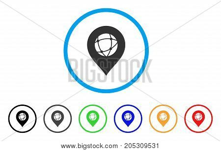 Sphere Marker rounded icon. Style is a flat sphere marker grey symbol inside light blue circle with black, gray, green, blue, red, orange color versions.