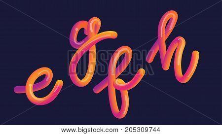 3D Gradient Lettering. Font Set With Letter
