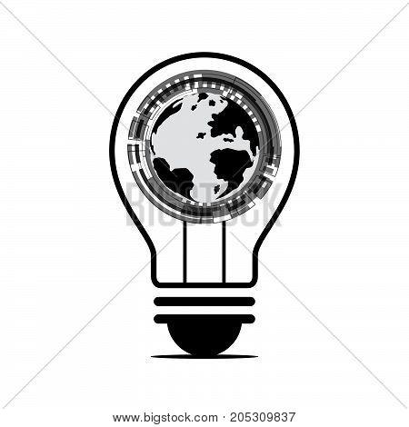 technology digital future creative idea abstract background world globe technology circle light bulb vector illustration.