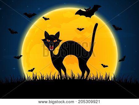 Halloween Growl Black Cat Bat Moon Graveyard