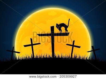 Halloween Growl Black Cat Cross Moon Graveyard