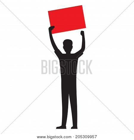 Man silhouette holding red template for text, vector illustration isolated on white background. Human showing red placard illustration for public protests concepts