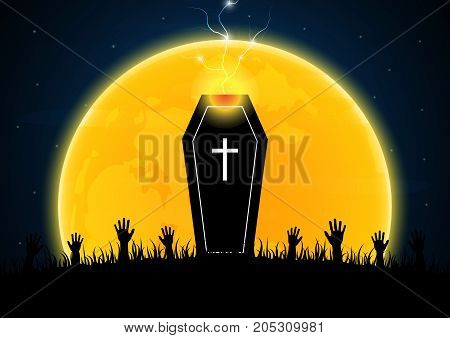 Halloween Coffin Moon Graveyard Thunderbolt Zombie Hand
