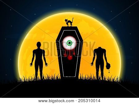 Halloween Coffin Moon Graveyard Zombie Eyeball Cat