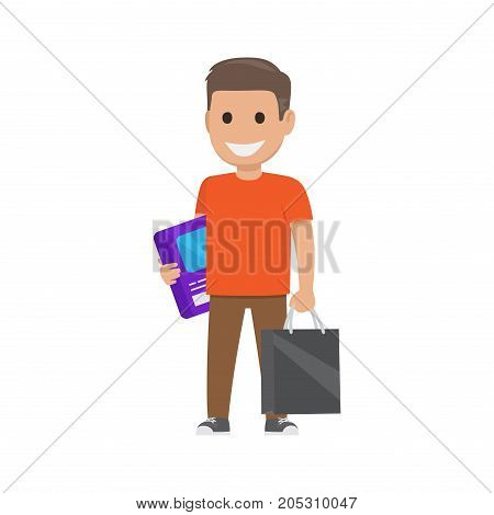 Boy smiles and stands with box and bag on white background. Family shopping day. Cartoon boy has fun during shopping. Shopping-themed isolated vector illustration of male character with purchases.