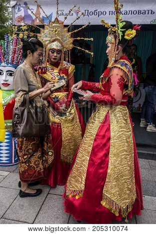 Moscow Russia - August 04 2017: Festival of Indonesia. Girls in national indonesian clothes.