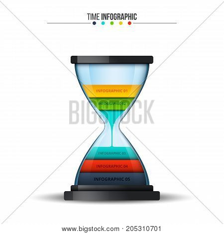 Vector sandglass infographic. Template for diagram, graph, presentation and chart. Business concept with 6 options, parts, steps or processes. Data visualization.