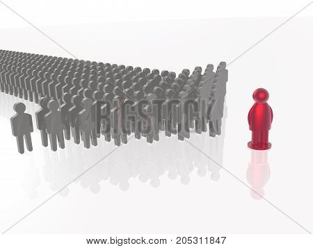 Red and grey men on white reflective background 3D illustration.