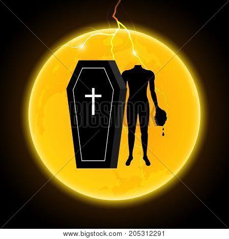 Halloween Coffin Moon Thunderbolt Headless Zombie