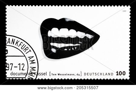GERMANY - CIRCA 1997 : Cancelled postage stamp printed by Germany, that shows Mouth.