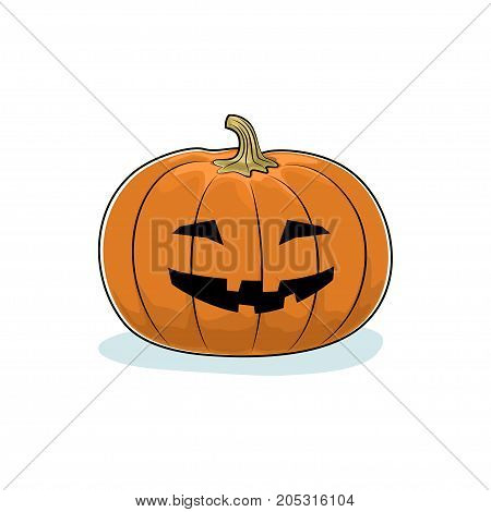 Carved Grinning Scary Halloween Pumpkin a Jack-o-Lantern on White Background