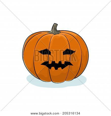 Carved Vicious Scary Halloween Pumpkin a Jack-o-Lantern on White Background