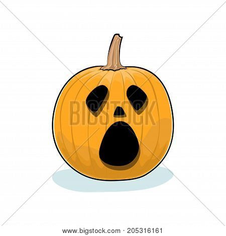 Carved Cry Scary Halloween Pumpkin on White Background a Jack-o-Lantern