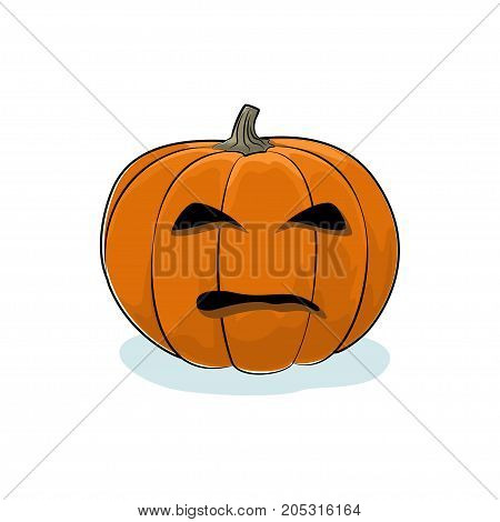 Carved Evil Scary Halloween Pumpkin a Jack-o-Lantern on White Background