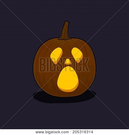 Carved Cry Scary Halloween Pumpkin on Dark Background a Jack-o-Lantern