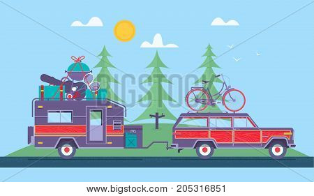Road trip Adventure Trailering Camping concept background. Journey by car. Fans club trailering. Trip to Europe.Vector flat illustration