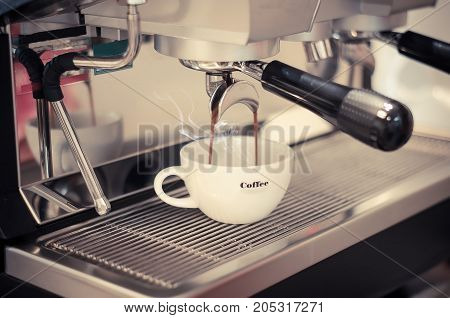 coffee machine in coffee shop for service