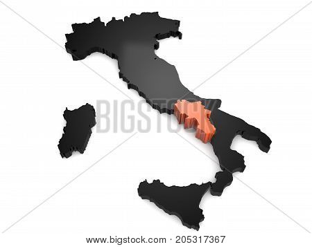 Italy 3d black and orange map, with Campania region highlighted 3d render