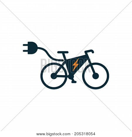 Electric Bicycle Icon On White Background