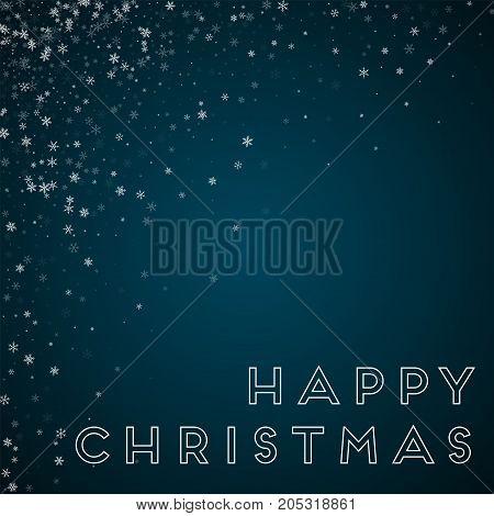 Happy Christmas Greeting Card. Beautiful Snowfall Background. Beautiful Snowfall On Blue Background.
