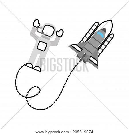 space astronaut with spaceship travel adventure exploration vector illustration