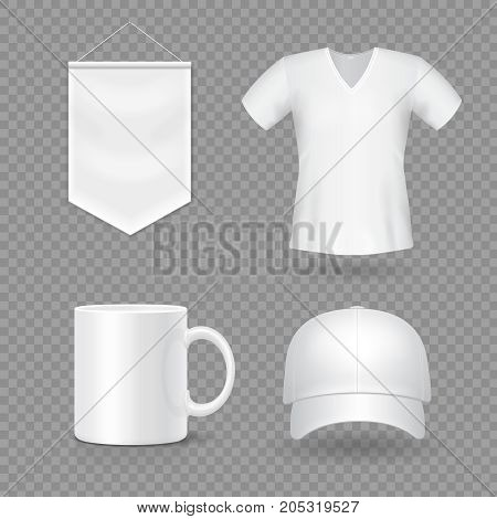 Blank mock-up promotional gifts. Realistic 3d cap, mug, t-shirt and flag.