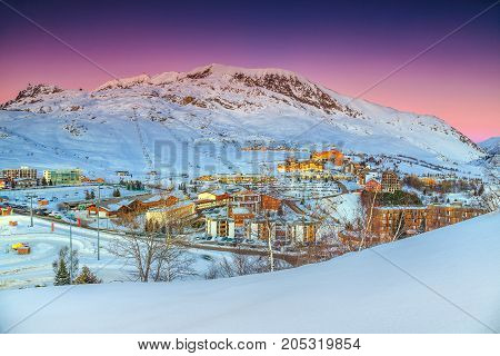 Beautiful winter landscape with famous ski resort in French Alps Alpe D Huez France Europe