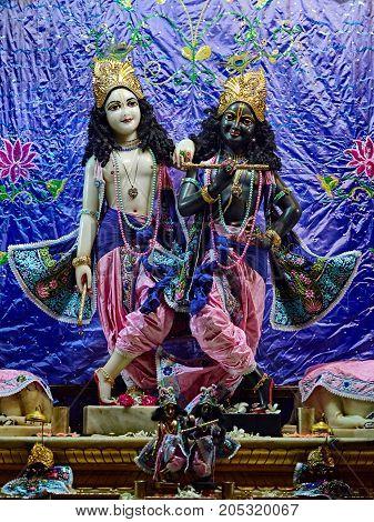 Deities in Sri Krishna Balaram Mandir, ISKCON Temple of Vrindavan. Vrindavan is considered to be a holy place. The major tradition followed in the area is Vaisnavism. Uttar Pradesh, India. - July 2017.