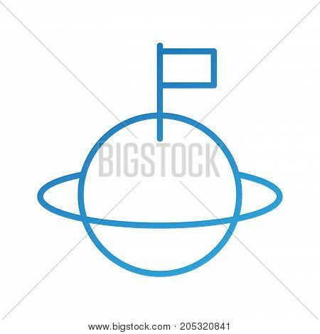 space universe saturn with flag colonization vector illustration