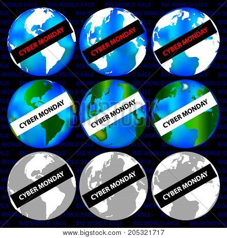Map of the world - Cyber Monday - set , Abstract vector - Cyber Monday sale - background