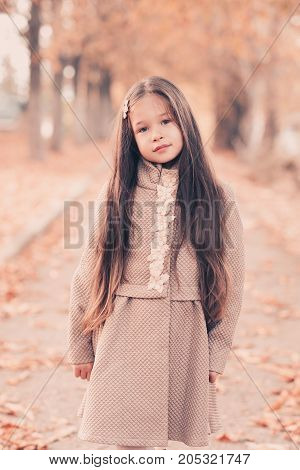 Pretty kid girl 4-5 year old with long hair wearing stylish coat posing over autumn background. Looking at camera. Childhood.
