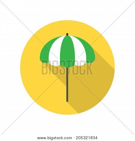 Beach umbrella icon. Beach sunshade. Striped yellow and green beach umbrella isolated on white background. Beach equipment. Vector illustration in flat design.