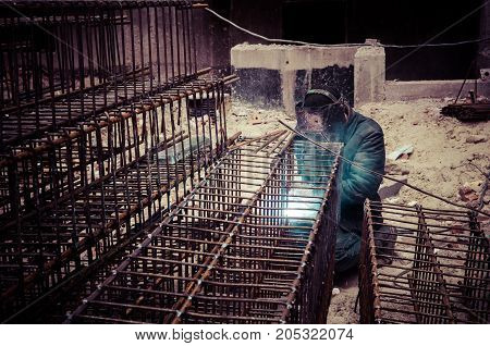 Welding Operator On Construction Site