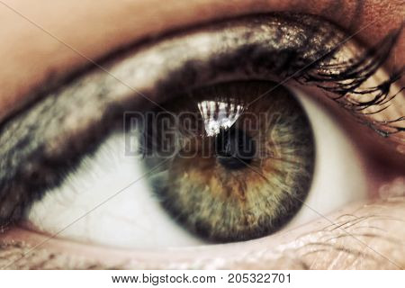 Female eye in macro with reflections from the sky