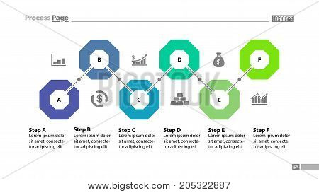 Six steps flowchart template design. Element of chart, diagram, presentation. Concept for annual report, infographic, web design. Can be used for topics like business, strategy, planning