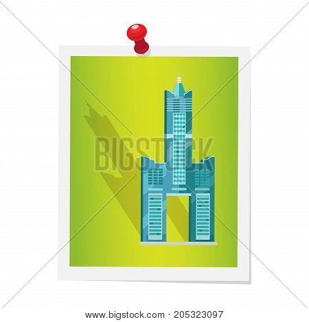 Tuntex Sky Tower on isolated picture attached by red drawing pin on white. Vector colorful illustration in flat design of Taiwanese high world architectural attraction consisting of three buildings