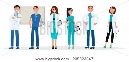 Doctors in uniform isolated on whitey. Medical advisers healthcare workers with stethoscopes and tablets vector illustration web banner.